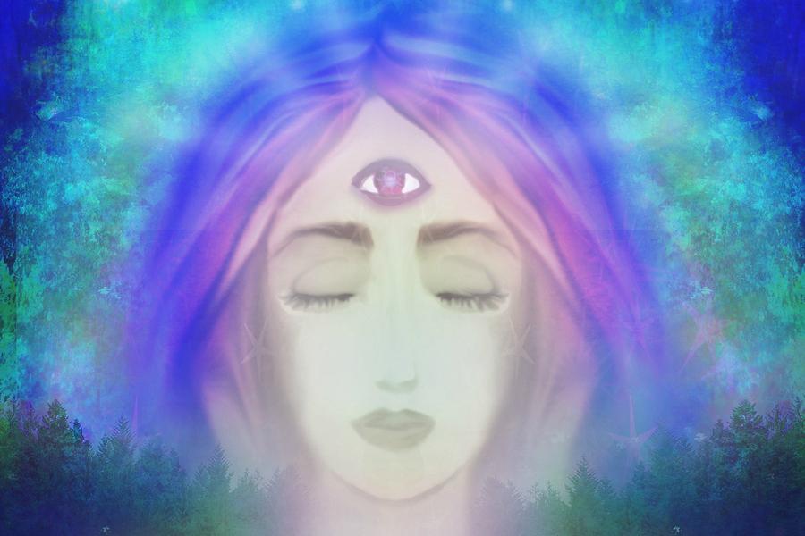 Third eye chakra, blue etheric background
